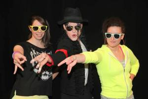 Jen Rossi, St. Josephs University and Dana Case, Vector Marketing with Michael Jackson Impersonator at 2013 EACE Conference