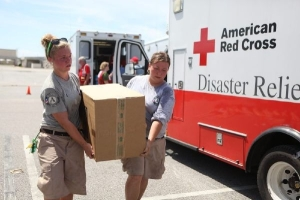 Credit: Talia Frenkel/American Red Cross AmeriCorps volunteers work to provide disaster response following Hurricane Isaac.