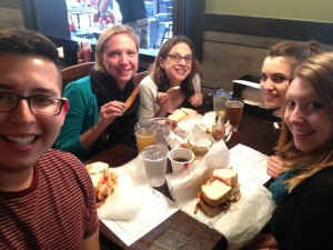 Dinner at Primanti Brothers with part of my new team from Hofstra. Fried pickles - YUM!